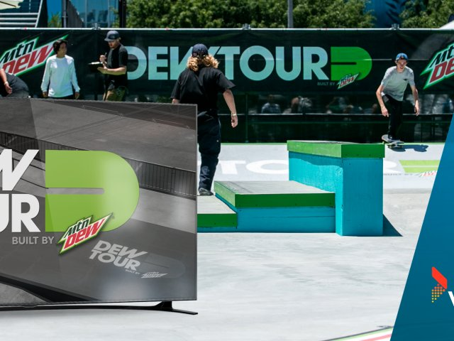 Campaign image for Dew Tour live stream, enabled by Vewd