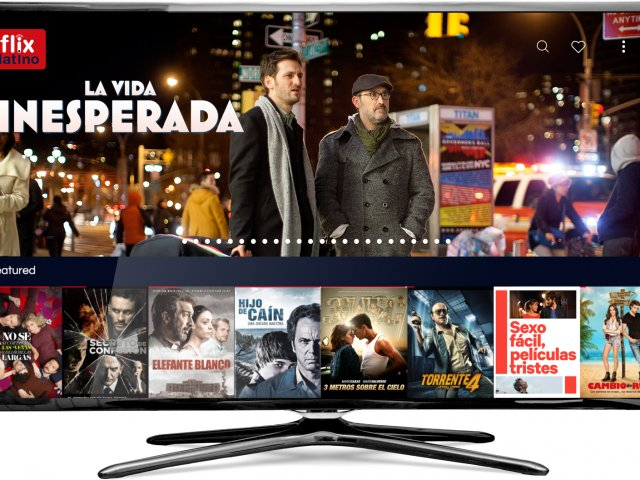 Image of FlixLatino app inset in a TV