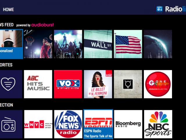 Screenshot of new Radioline appTV